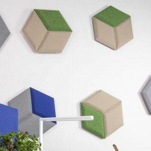 Mosaico hexagonal fonoabsorbente de pared